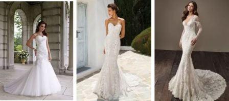 Классическое свадебное платье из атласа