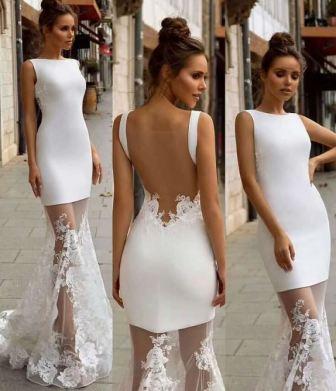 Короткое облегающее свадебное платье