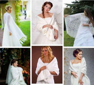 Накидка на свадебное платье осенью